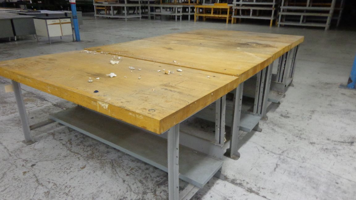 Heavy Wood And Metal Shop Tables